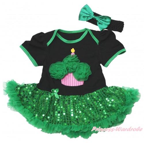Black Baby Bodysuit Bling Kelly Green Sequins Pettiskirt & Kelly Green Rosettes Birthday Cake Print JS4381