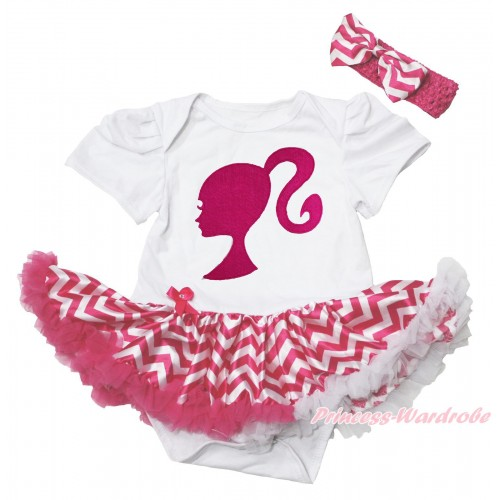 White Baby Bodysuit Hot Pink White Chevron Pettiskirt & Hot Pink Barbie Princess Print JS4383