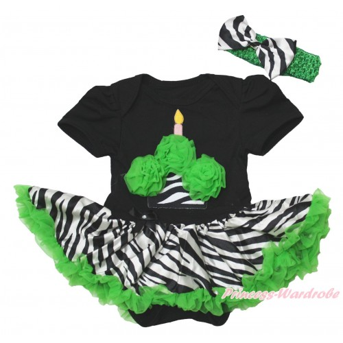 Black Baby Bodysuit Zebra Dark Green Pettiskirt & Dark Green Rosettes Zebra Birthday Cake Print JS4393