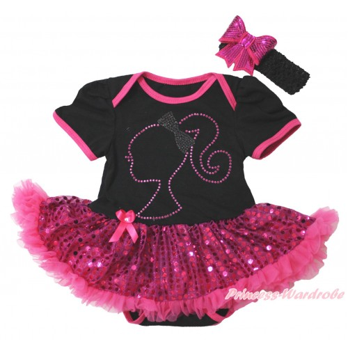 Black Baby Bodysuit Bling Hot Pink Sequins Pettiskirt & Sparkle Rhinestone Barbie Princess Print JS4399