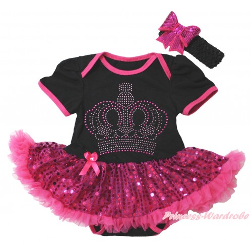 Black Baby Bodysuit Bling Hot Pink Sequins Pettiskirt & Sparkle Rhinestone Crown Print JS4402