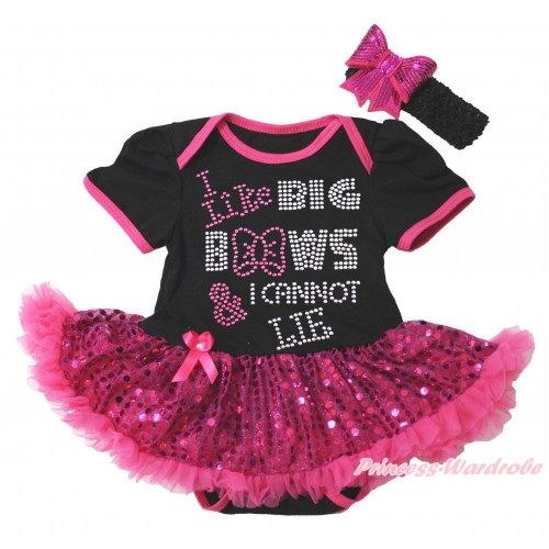 Black Baby Bodysuit Bling Hot Pink Sequins Pettiskirt & Sparkle Rhinestone I Like Big Bows Print JS4403
