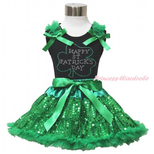 St Patrick's Day Black Tank Top Kelly Green Ruffles & Bows & Sparkle Rhinestone Clover Print & Bling Kelly Green Sequins Pettiskirt MG1513