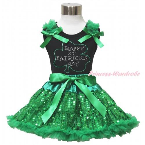 St Patrick's Day Black Tank Top Kelly Green Ruffles & Bows & Sparkle Rhinestone Clover Print & Bling Kelly Green Sequins Pettiskirt MG1513