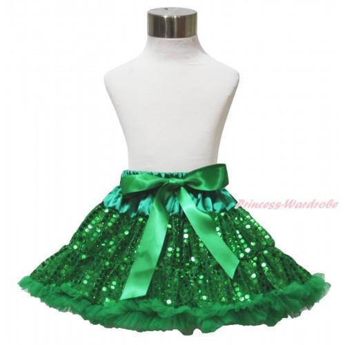 Sparkle Kelly Green Bling Sequins Full Pettiskirt P198