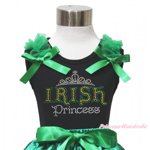 St Patrick's Day Black Tank Top Kelly Green Ruffles & Bow & Rhinestone IRISH Princess Print TB1068