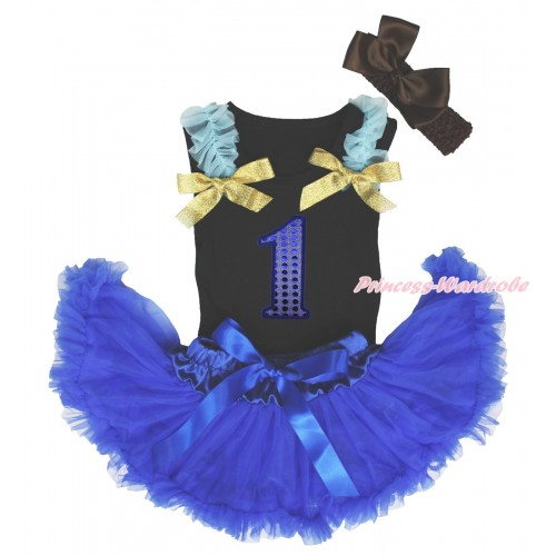 Black Baby Pettitop Light Blue Ruffles Sparkle Gold Bows & 1st Sparkle Royal Blue Birthday Number Print & Royal Blue Newborn Pettiskirt NG1651