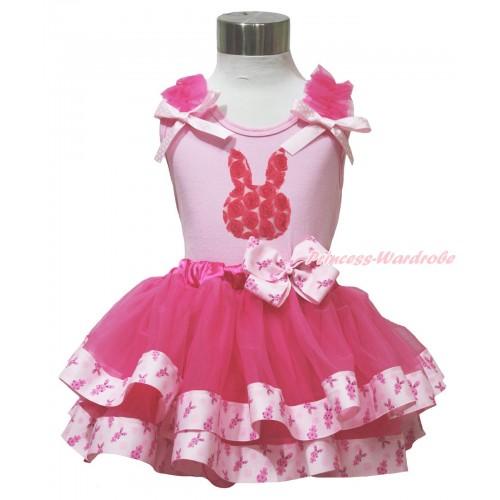 Easter Light Pink Baby Pettitop Hot Pink Ruffles Light Pink White Dots Bow & Hot Pink Rosettes Rabbit Print & Rabbit Bow Hot Pink Rabbit Trimmed Baby Pettiskirt BG198