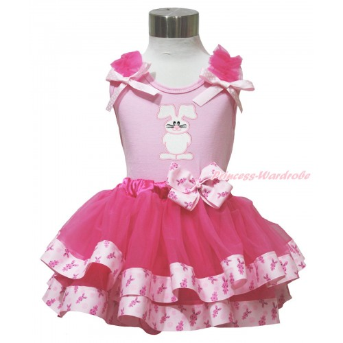 Easter Light Pink Baby Pettitop Hot Pink Ruffles Light Pink White Dots Bow & Bunny Rabbit Print & Rabbit Bow Hot Pink Rabbit Trimmed Baby Pettiskirt BG200