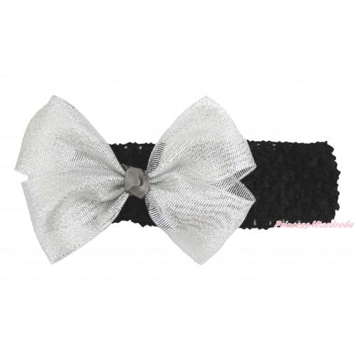Black Headband Sparkle Silver Grey Bow Hair Clip H1006