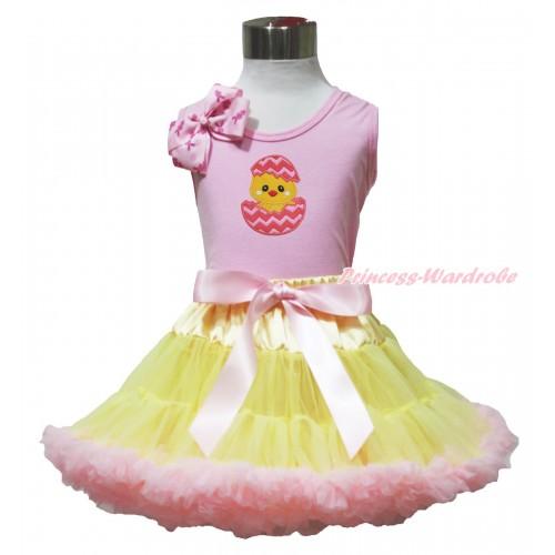 Easter Light Pink Tank Top Pink Rabbit Bow & Chick Egg Print & Yellow Light Pink Pettiskirt M631