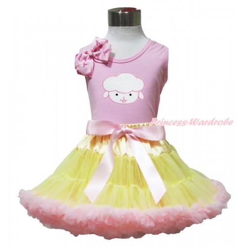 Easter Light Pink Tank Top Pink Rabbit Bow & Sheep Print & Yellow Light Pink Pettiskirt M632