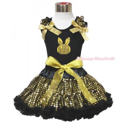 Easter Black Tank Top Gold Sequins Ruffles Sparkle Gold Bows & Gold Sequins Rabbit Print & Black Gold Bling Sequins Pettiskirt MG1523