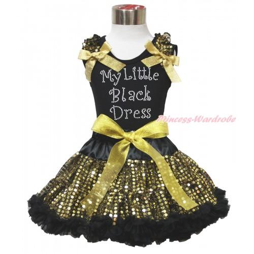 Black Tank Top Gold Sequins Ruffles Sparkle Gold Bows & Sparkle Rhinestone My Litlle Black Dress Print & Black Gold Bling Sequins Pettiskirt MG1528