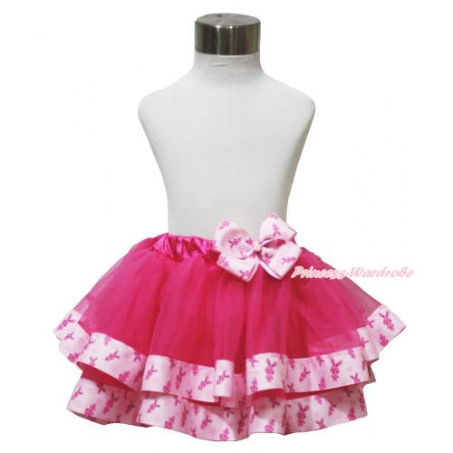 Easter Hot Pink & Pink Rabbit Satin Trimmed Newborn Baby Pettiskirt & Pink Rabbit Bow N250