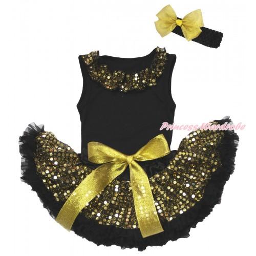 Black Baby Pettitop & Gold Sequins Lacing & Black Gold Bling Sequins Baby Pettiskirt NG1652