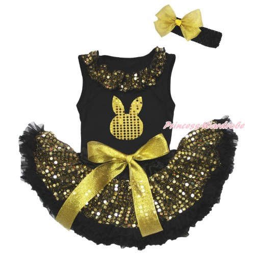 Easter Black Baby Pettitop Gold Sequins Lacing & Gold Sequins Rabbit Print & Black Gold Bling Sequins Newborn Pettiskirt NG1653
