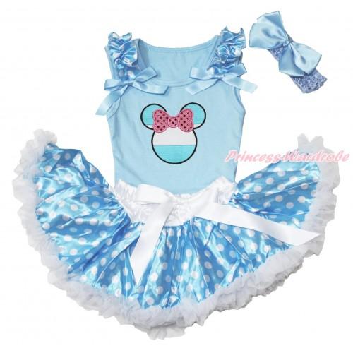 World Cup Light Blue Baby Pettitop Light Blue White Dots Ruffles Light Blue Bows & Sparkle Light Pink Bow Argentina Minnie Print & Light Blue White Dots Newborn Pettiskirt NG1661