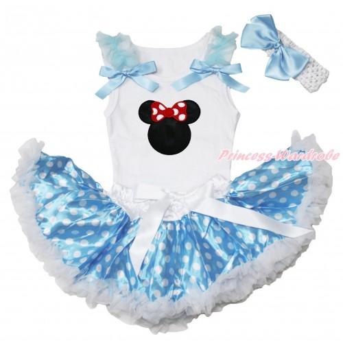 White Baby Pettitop Light Blue Ruffles & Bows & Red Minnie Print & Light Blue White Dots Newborn Pettiskirt NN266