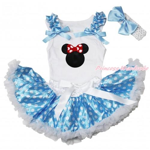 White Baby Pettitop Light Blue White Dots Ruffles Light Blue Bows & Red Minnie Print & Light Blue White Dots Newborn Pettiskirt NN271