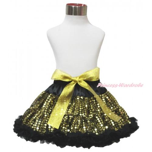 Black Gold Sparkle Bling Sequins Full Pettiskirt P201