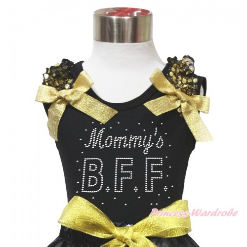 Black Tank Top Gold Sequins Ruffles Sparkle Gold Bow & Sparkle Rhinestone Mommy's BFF Print TB1077