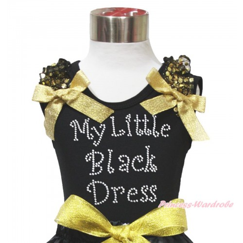 Black Tank Top Gold Sequins Ruffles Sparkle Gold Bow & Sparkle Rhinestone My Little Black Dress Print TB1081