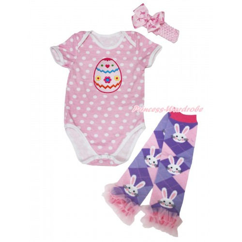 Light Pink White Dots Baby Jumpsuit Easter Egg Print & Light Pink Headband Rabbit Bow & Light Pink Ruffles Rabbit Leg Warmer Set TH563