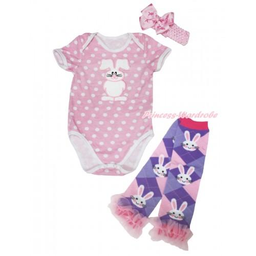 Light Pink White Dots Baby Jumpsuit Bunny Rabbit Print & Light Pink Headband Rabbit Bow & Light Pink Ruffles Rabbit Leg Warmer Set TH564
