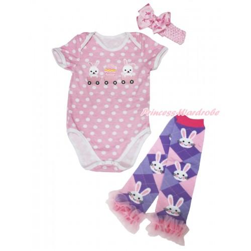 Light Pink White Dots Baby Jumpsuit Bunny Rabbit Egg Print & Light Pink Headband Rabbit Bow & Light Pink Ruffles Rabbit Leg Warmer Set TH565