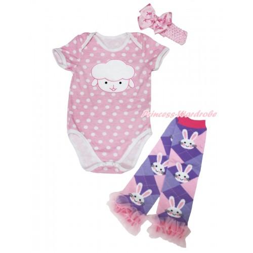 Easter Light Pink White Dots Baby Jumpsuit Sheep Print & Light Pink Headband Rabbit Bow & Light Pink Ruffles Rabbit Leg Warmer Set TH566
