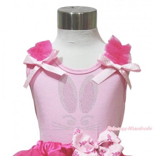 Easter Light Pink Tank Top Hot Pink Ruffles Light Pink White Dots Bow & Sparkle Rhinestone Bunny Rabbit Print TP254