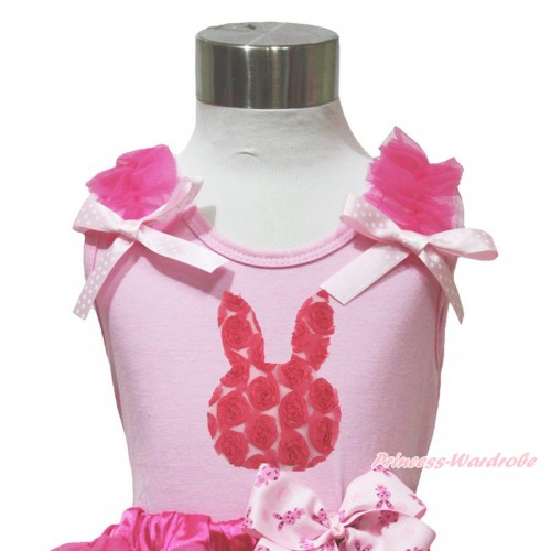 Easter Light Pink Tank Top Hot Pink Ruffles Light Pink White Dots Bow & Hot Pink Rosettes Rabbit Print TP255