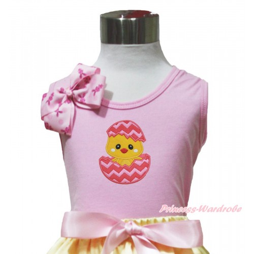 Easter Light Pink Tank Top Pink Rabbit Bow & Chick Egg Print TP260