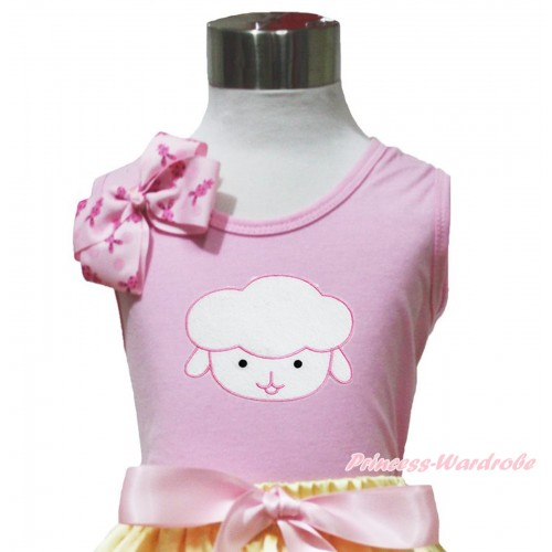 Easter Light Pink Tank Top Pink Rabbit Bow & Sheep Print TP261