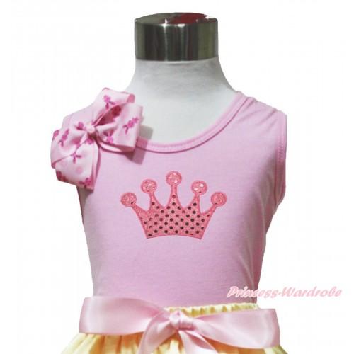 Light Pink Tank Top Pink Rabbit Bow & Sparkle Light Pink Crown Print TP262