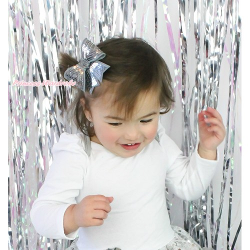 Grey Sparkle Bling Sequins Bow Hair Clip H1000