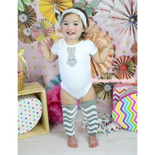 Easter White Baby Jumpsuit Grey Rabbit Tie Print & White Headband Grey Bow & Grey White Chevron Leg Warmer Set TH567
