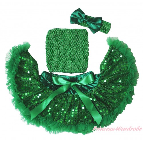 Kelly Green Sparkle Bling Sequins Baby Pettiskirt, Kelly Green Crochet Tube Top, Kelly Green Headband Satin Bow 3PC Set CT691