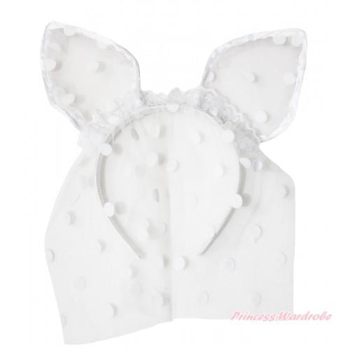Easter White Dots Bunny Rabbit Ear Gauze Veil Headband H989