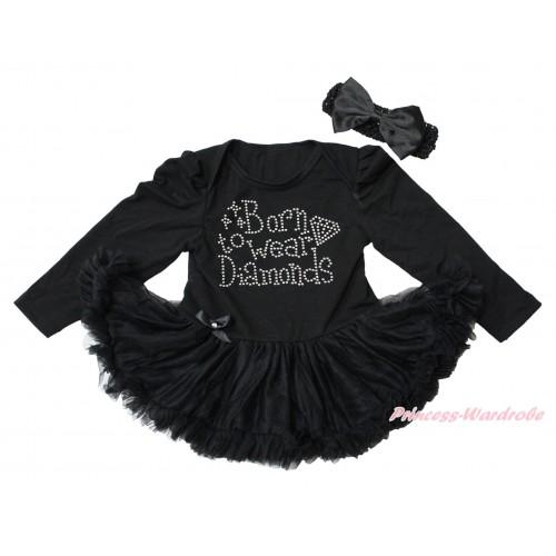 Black Long Sleeve Bodysuit Pettiskirt & Sparkle Rhinestone Born To Wear Diamonds Print JS4344