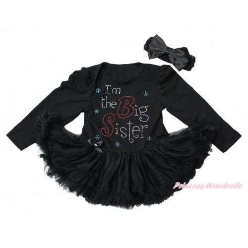Black Long Sleeve Bodysuit Pettiskirt & Sparkle Rhinestone I'm The Big Sister Print JS4345