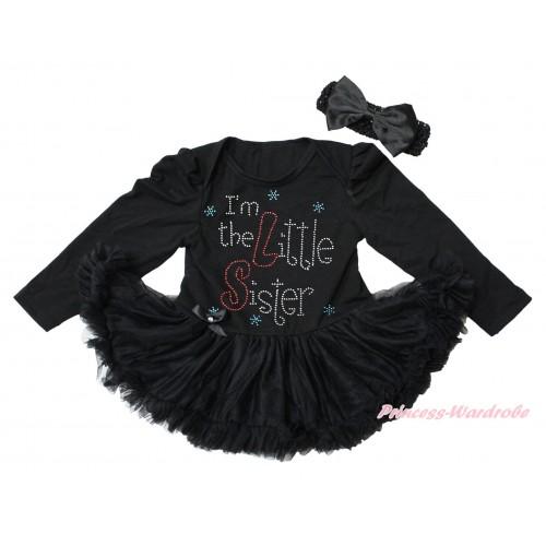 Black Long Sleeve Bodysuit Pettiskirt & Sparkle Rhinestone I'm The Little Sister Print JS4346