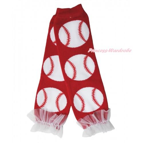 Newborn Baby Baseball Hot Red Leg Warmers Leggings & White Ruffles LG287