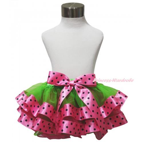 Dark Green & Hot Pink Black Dots Satin Trimmed Newborn Baby Pettiskirt & Hot Pink Black Dots Bow N249