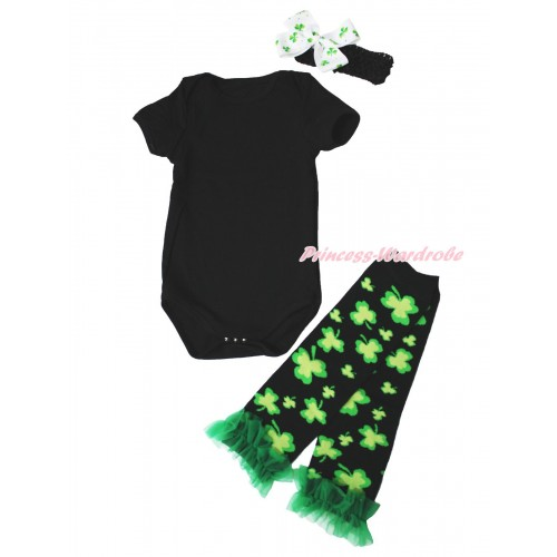 St Patrick's Day Black Baby Jumpsuit & Black Headband Clover Silk Bow & Kelly Green Ruffles Clover Black Leg Warmer Set TH554