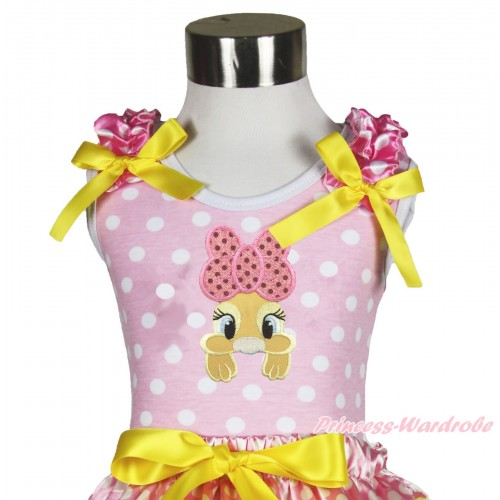 Easter Light Pink White Dots Tank Top Hot Pink White Dots Ruffles Yellow Bow & Pink Bow Bunny Rabbit Print TP251