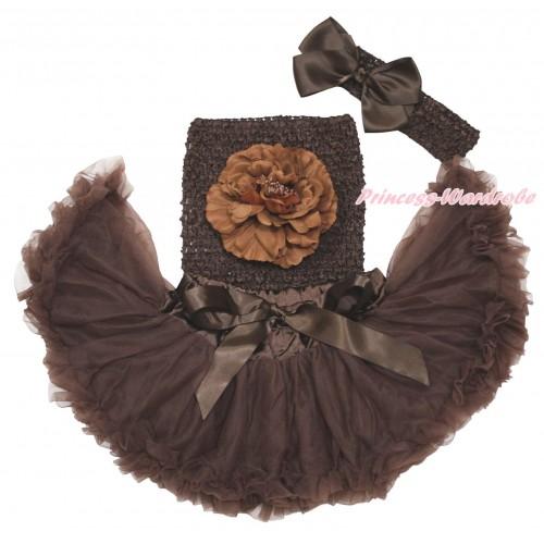 Brown Baby Pettiskirt, Peony Brown Crochet Tube Top, Headband & Silk Bow 3PC Set CT693