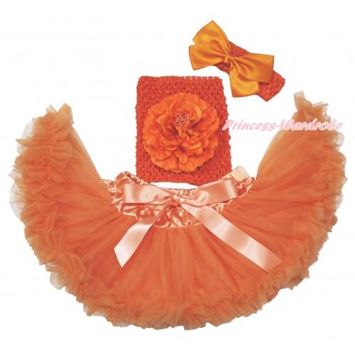 Orange Baby Pettiskirt, Peony Orange Crochet Tube Top, Headband & Silk Bow 3PC Set CT699