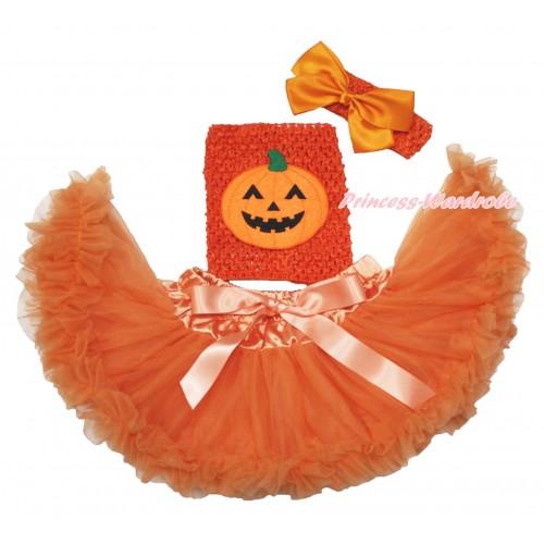 Orange Baby Pettiskirt, Pumpkin Orange Crochet Tube Top, Headband & Silk Bow 3PC Set CT700